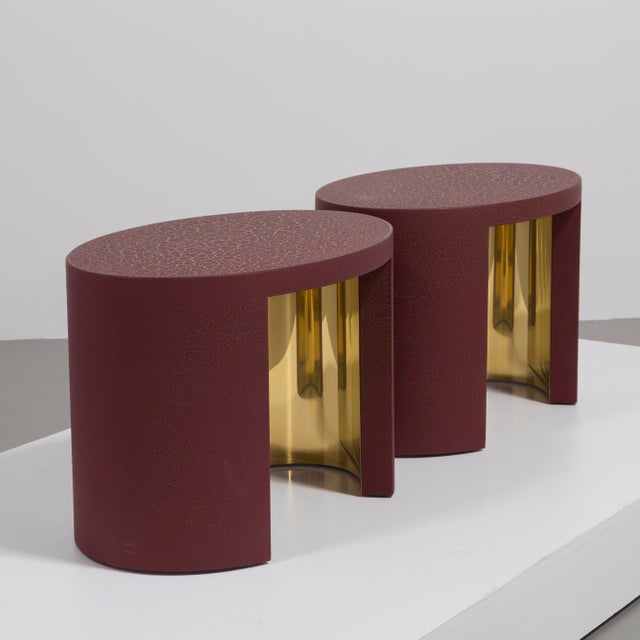 2010s The Oval Crackle Side Tables by Talisman Bespoke (Burgundy and Gold) For Sale - Image 5 of 8