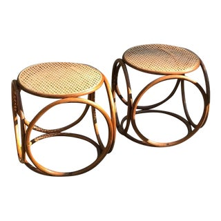 Vintage Thonet Bentwood Circular Stools A Pair For Sale