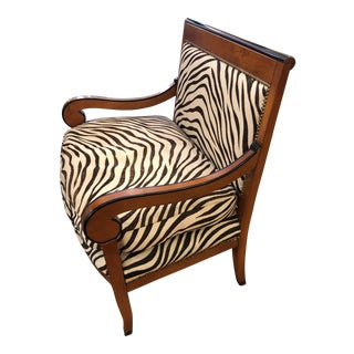 1980s Vintage Printed Zebra Cowhide Upholstery Chair For Sale