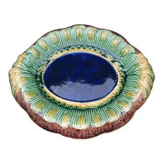 Victorian Majolica Cobalt Blue wheat Themed Bread Tray For Sale