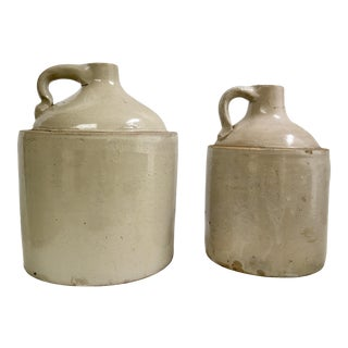 Vintage Stoneware Whiskey Jugs - a Pair For Sale