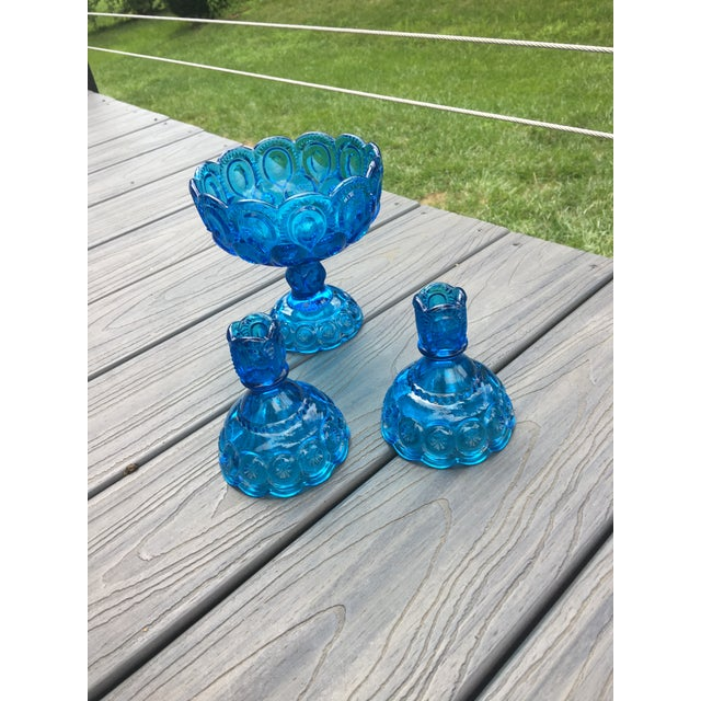 Vintage Mid-Century Electric Blue Glass Dish and Candlestick Holders - Set of 3 For Sale - Image 4 of 7