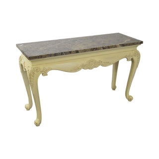 Quality French Style Painted Console With Marble Top For Sale