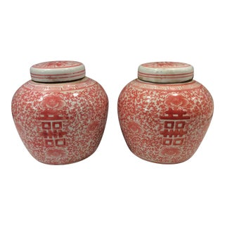 Asian Coral and White Ginger Jars - a Pair For Sale