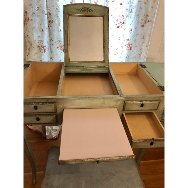 Light Green 1920s Antique Hand Painted French Vanity With Bench-a Pair For Sale - Image 8 of 13