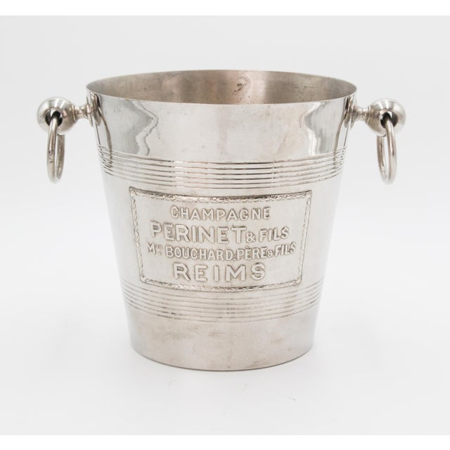 Red Mid-Century French Silver Plate Champagne Bucket For Sale - Image 8 of 8
