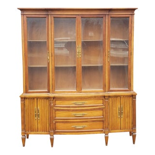 Very Good Italian Provincial 1960s 2 Part Fruitwood Dining Room China Cabinet For Sale