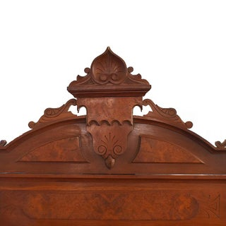 Eastlake Carved Wood Full Size Bed in Burlwood With Headboard, Foot Board and Rails Preview