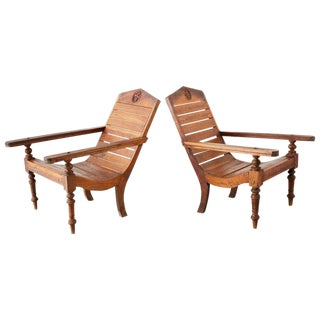 Vintage Mid Century British Colonial Teak Chairs- a Pair For Sale