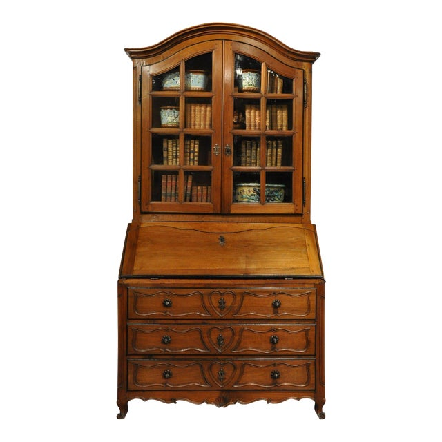 18th Century French Louis XV Carved Walnut Folding Top Secretary Bookcase For Sale
