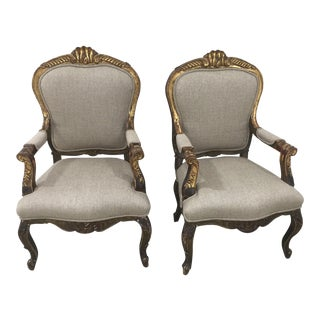 Pair of 19th C Italian Giltwood Fauteuil Chairs For Sale