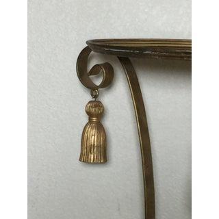 Vintage Gold Hollywood Regency Style Metal Tassel Side Table Preview