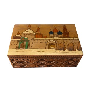 Vintage Russian Hand Painted and Etched Box For Sale