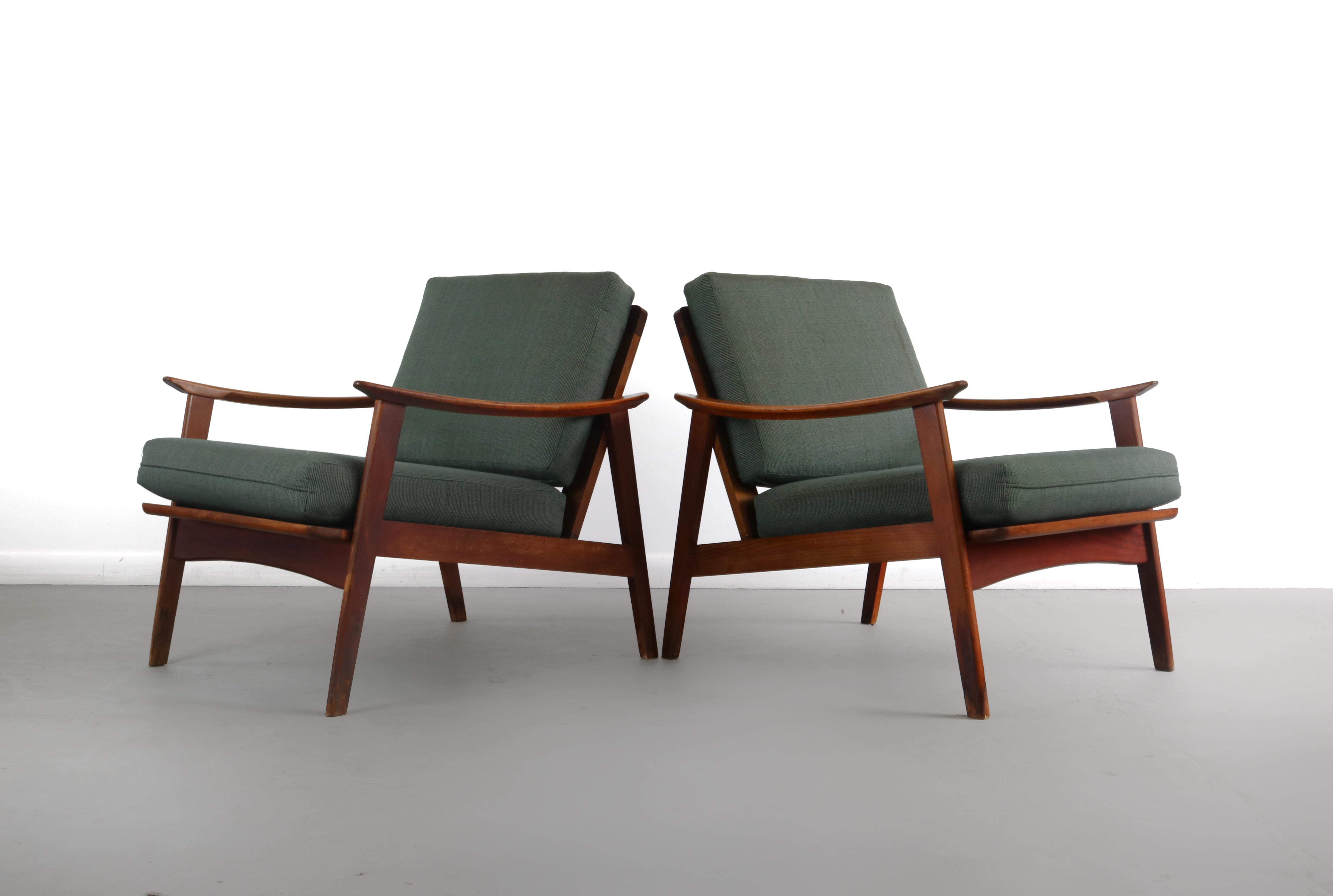 Vintage Mid Century Danish Modern Lounge Chairs- A Pair For Sale In Orlando - Image  sc 1 st  Chairish & Vintage Mid Century Danish Modern Lounge Chairs- A Pair | Chairish