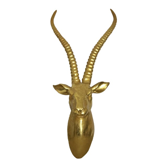 Large Gold Antelope Head Wall Art For Sale