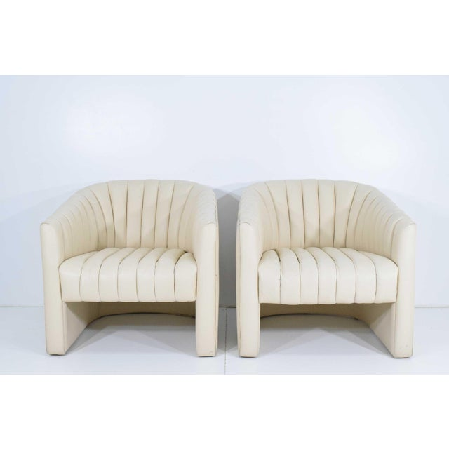 White 1980s Channel Tufted Barrel Back Tub Chairs - a Pair For Sale - Image 8 of 8