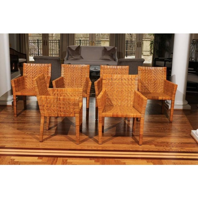 Terrific Restored Set of Six Cane Chairs in the Style of Jean-Michel Frank For Sale - Image 9 of 11