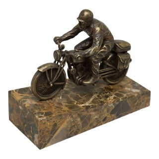Scarborough House Motorcycle Statue Brass For Sale