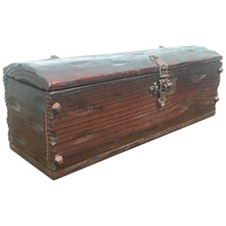 Small Antique Oak Table Trunk - Box From Spain, 18th Century For Sale