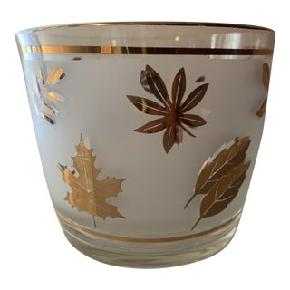 Vintage Mid-century Modern Gold Leaf and Frosted Glass Ice Bucket For Sale