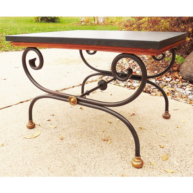 Offered is a pair of vintage Barcelona collection side tables by Morganton Furniture. The tables feature Spanish...