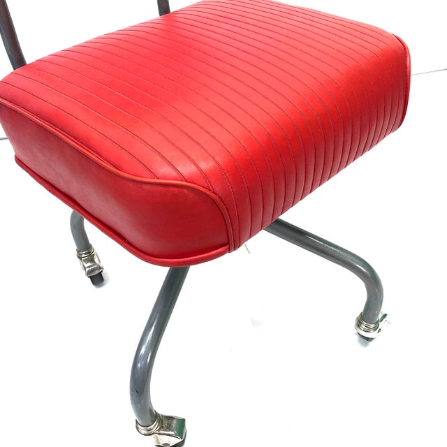 Steelcase Tanker Steelcase Machine Age Industrial Little Red Desk Chair For Sale - Image 4 of 9