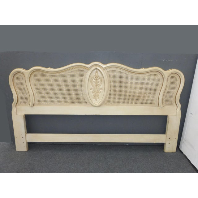 Vintage French Provincial White Cane King Sized Headboard - Image 3 of 11