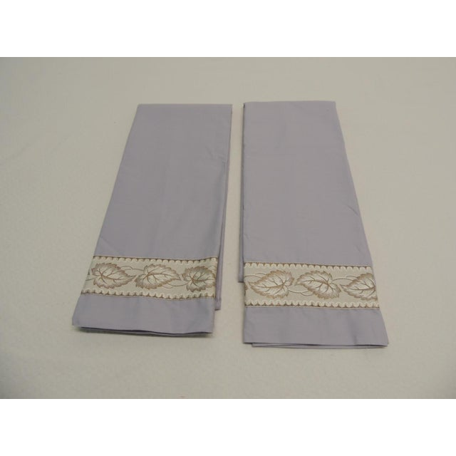 Pair of Antique Trim Pillow Cases in Ecru and Gold Trim For Sale - Image 4 of 4