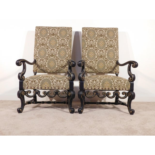 Maitland Smith William & Mary Ebony W Gold Gilt Accents Fireside Arm Chairs - a Pair For Sale - Image 11 of 13