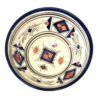 Moroccan Hand Painted Small Blue Bowl For Sale