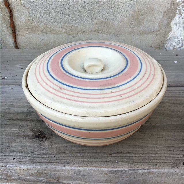 Ceramic. Handmade/Hand painted. 1940's. Americana Mixing Bowl With Lid.