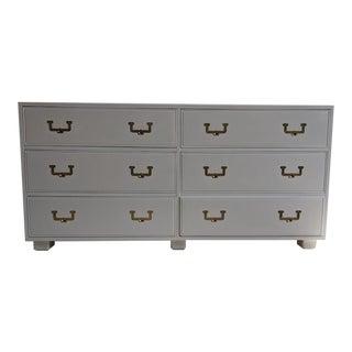 1960s Vintage Henredon Campaign Gloss White Dresser Credenza Buffet For Sale