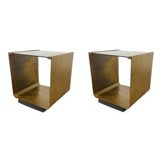 Caracole Mod Black and Gold End Tables Pair For Sale