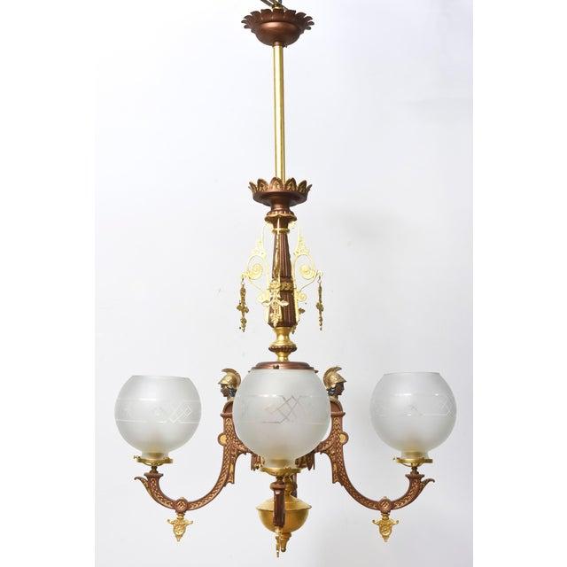 Gold Four Arm Greek Revival Kolokotronis Chandelier For Sale - Image 8 of 11