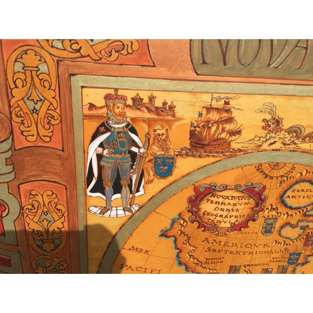 """Realism Large Hand Painted Map of the World 1613 Nova Totivs Terrarvm 64"""" For Sale - Image 3 of 9"""