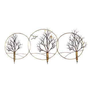 1980s Mid Century Modern Metal 3-Ring Hanging Wall Sculpture For Sale