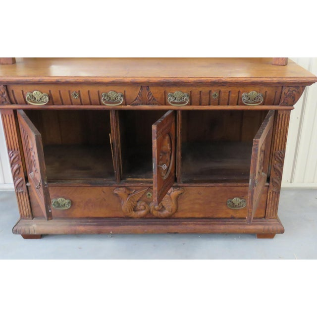 Glass Early 20th Century Renaissance Style Sideboard With Superstructure For Sale - Image 7 of 9