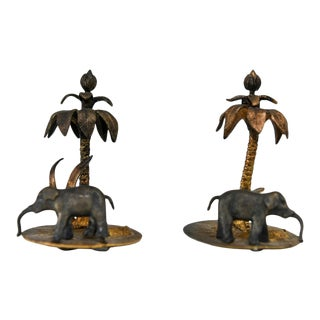 19th Century Antique Palm Trees With Elephants - a Pair For Sale