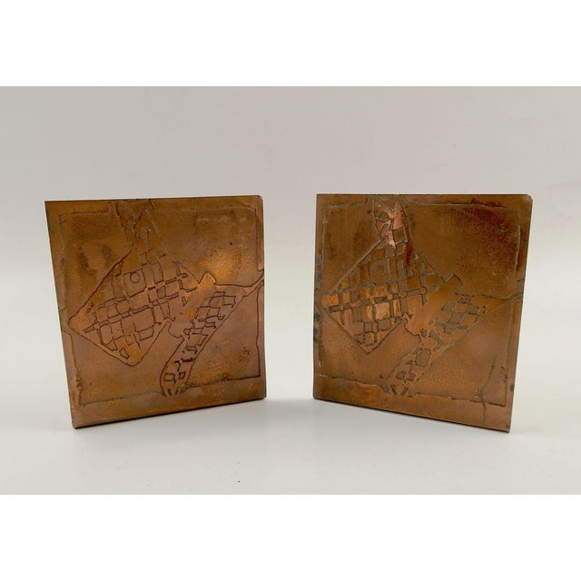 1930s 1930s Abstract Hand Made Scotty Dog Etched Copper Bookends - a Pair For Sale - Image 5 of 5