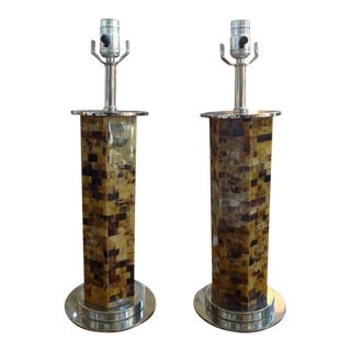Karl Springer Inspired Tessellated Horn Lamps - A Pair