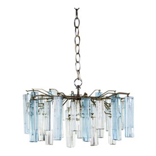 Mid-Century Modern Italian Chrome and Blue Glass Chandelier