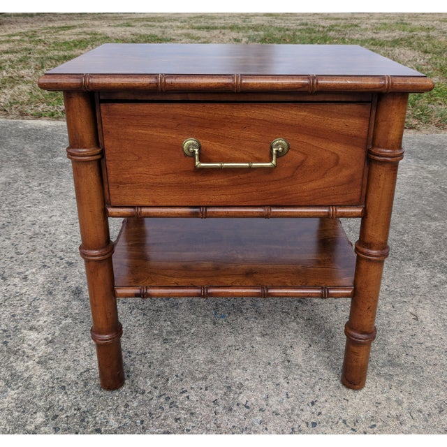 """This charming nightstand is Drexel Furniture from their """"Contact"""" Line Made of wood, and contains one top drawer, and a..."""