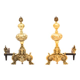 Antique French Louis XIV Bronze Andirons - a Pair For Sale
