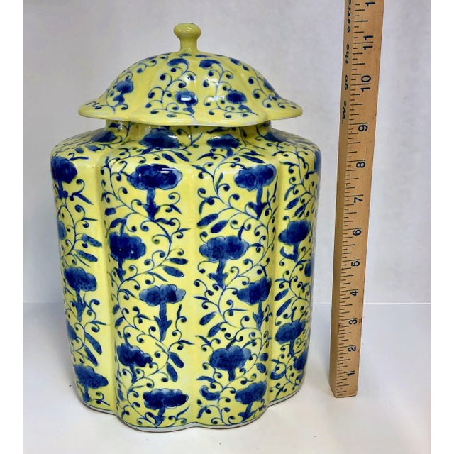 Ceramic Chinoiserie Urn in Yellow and Blue With Lid For Sale - Image 7 of 13