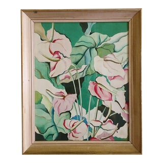 1970's Vintage Abstract Tropical Watercolor Painting by Russell West