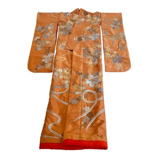 Vintage Brocade Japanese Ceremonial Kimono in Orange, Gold and Silver For Sale