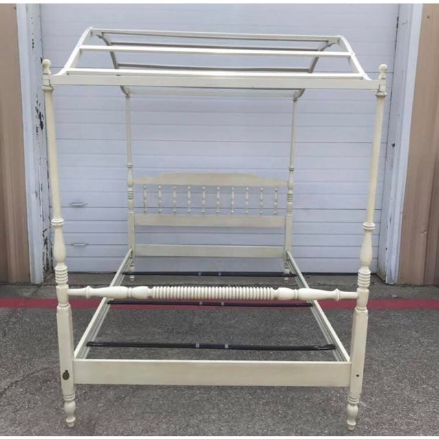 Lovely and sturdy vintage wood canopy bed. Two matching beds are available, sold separately. Can be used with or without...