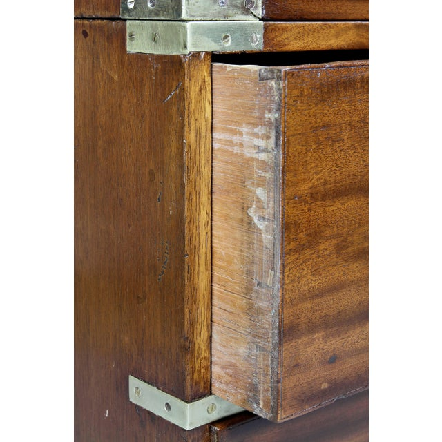 Victorian Campaign Mahogany Military Chest For Sale In Boston - Image 6 of 11