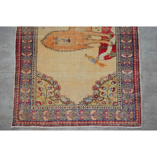 """Textile Antique Turkish Rug Lion Pattern Hand Knotted SuperLow Pile Wool Wall & Area Rug Rare Piece- 4'1"""" X 6' For Sale - Image 7 of 11"""