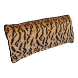 Image of Velvet Tiger Pattern Lumbar Pillow For Sale